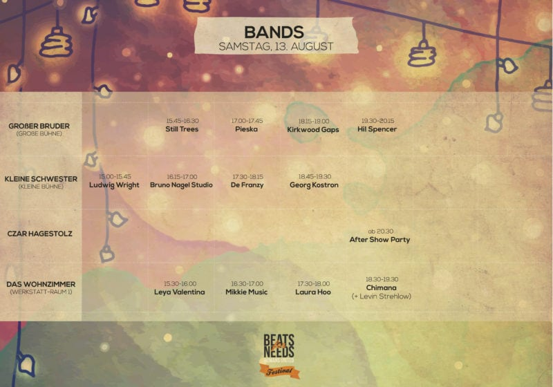 2 Beats for Needs Festival Timetable_Bands_Samstag