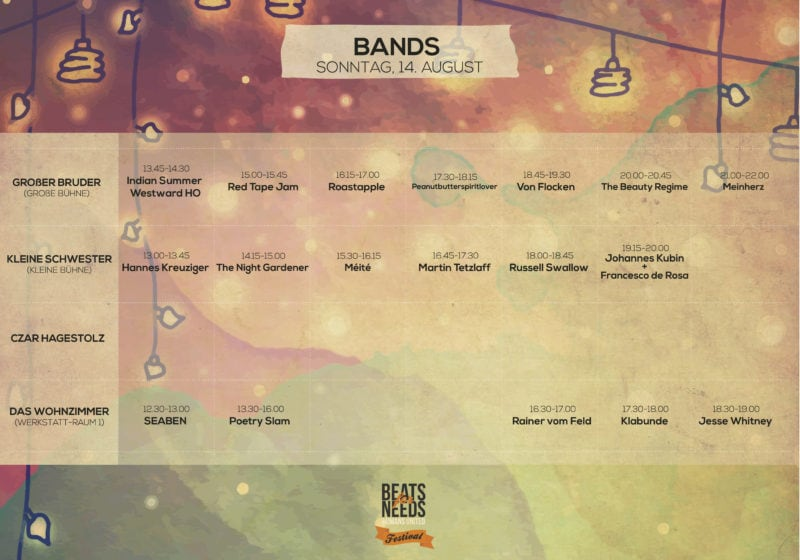 Beats for Needs Timetable_Bands_Sonntag